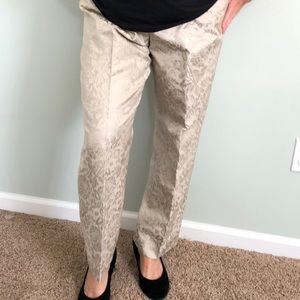 Ann Taylor cream and gold brocade holiday pants